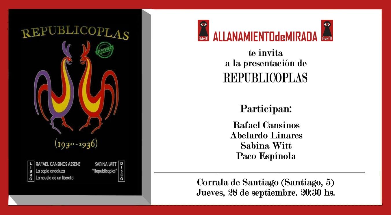 28 de setembre- Presentació del librisco Republicoplas (Granada)- 20,30h