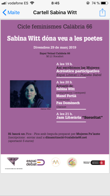 March 29 – Les crisàlides- Calabria 66 (Bcn)- 20h