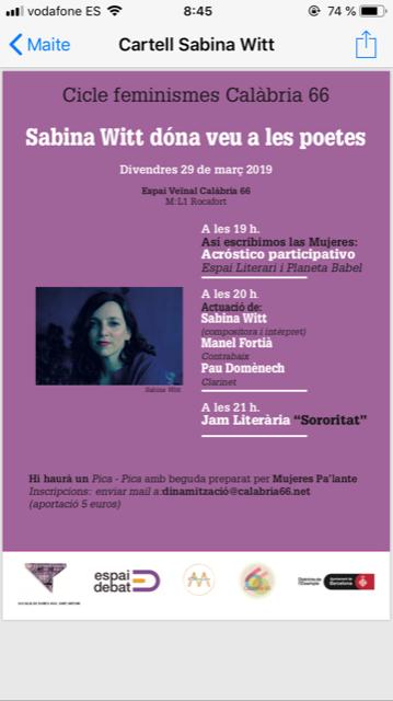 29 de març- Les crisàlides- Calabria 66 (Bcn)- 20h