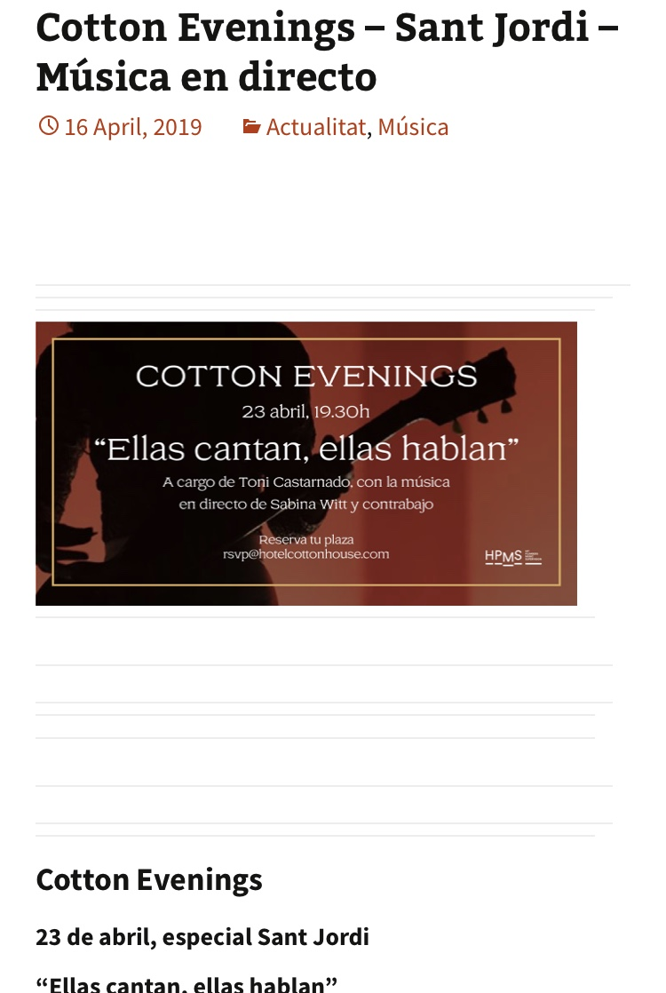 23 d'abril- Sabina Witt- Cotton Hotel (Bcn)- 19h